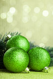 Christmas tree with decoration ball. Branch of Christmas tree with decoration ball Stock Photography