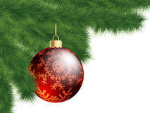 Christmas-tree and decoration ball. EPS 8 Stock Images