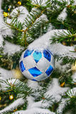 Christmas tree decoration ball. Decoration ball hanging on a snow-covered Christmas tree Stock Image
