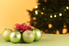 Christmas tree decoration with ball lights Stock Photos