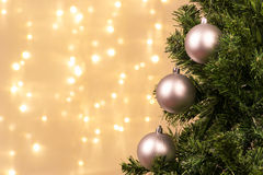 Christmas tree decoration with ball lights Stock Photography