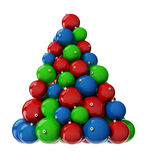 Christmas Tree from decoration balls. Xmas tree from multi-colored balls. 3d render with HDR Stock Images