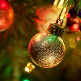 Christmas-tree and decoration balls Royalty Free Stock Photography