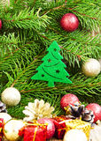 Christmas Tree Decoration with Balls on Fir Tree Background Royalty Free Stock Image