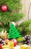 Christmas Tree Decoration with Balls on Fir Tree Background Stock Image