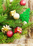 Christmas Tree Decoration with Balls on Fir Tree Stock Photography