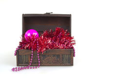 Christmas tree decoration balls garment in a box isolated Stock Image