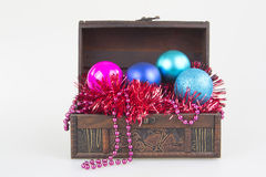 Christmas tree decoration balls garment in a box isolated Stock Photo