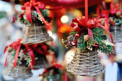 Christmas tree decoration bell with red ribbon stock image