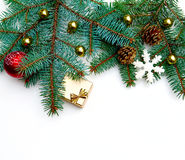 Christmas Tree decoration Border Design. Royalty Free Stock Photo