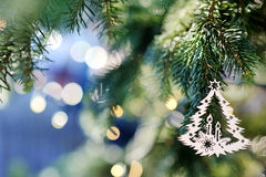 Christmas tree decoration on bright holiday background Royalty Free Stock Images