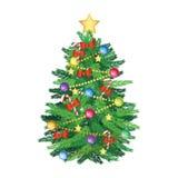 Christmas tree and decoration cartoon version royalty free stock image