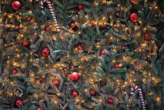 Christmas tree decoration close up background. Christmas balls royalty free stock photos