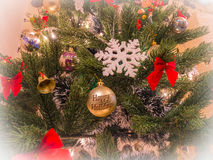 Christmas tree decoration. Closeup for New year Christmas background Royalty Free Stock Photography