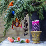 Christmas tree decoration with clown, parrot, christmas balls an Stock Photo