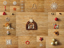 Christmas tree decoration collage stock photo