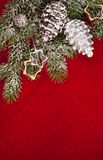 Christmas tree decoration with cone on red Royalty Free Stock Image