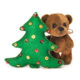 Christmas tree decoration with cute classic teddy bear Stock Images