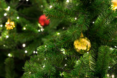 Christmas tree with decoration, detail Royalty Free Stock Image