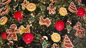 Christmas tree decoration details stock video