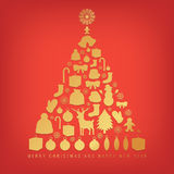 Christmas tree with decoration elements on red background. Vector Royalty Free Stock Photography