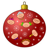 Christmas-tree decoration with faces Stock Images