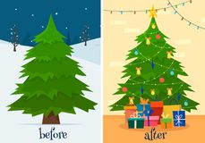 Christmas tree before and after decoration. Fir in forest and in room with gifts and lights. Flat cartoon style vector illustration Royalty Free Stock Photo