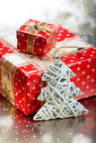 Christmas tree decoration and gift boxes Royalty Free Stock Photography