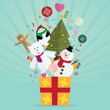 Christmas tree and decoration in gift. Vector Royalty Free Stock Photography