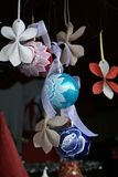 Christmas tree decoration: glass globes, hand painted Stock Photo