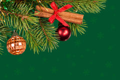 Christmas tree decoration on green Royalty Free Stock Photography