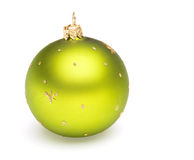 Christmas tree decoration green ball. Isolated on white backrground Royalty Free Stock Images