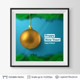 Golden decorative toy ball and fir tree border. Christmas tree decoration and greeting text in a frame. Editable vector illustration Stock Image