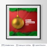 Golden decorative toy ball and fir tree border. Christmas tree decoration and greeting text in a frame. Editable vector illustration Stock Photography