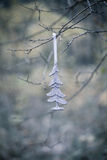 Christmas tree decoration hanging on tree branch Royalty Free Stock Photography