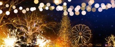 Christmas tree decoration and holidays lights on Christmas Seaso stock photos