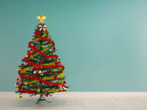 Christmas tree decoration interior-X'mas background Stock Photo
