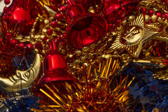 Christmas tree decoration items Royalty Free Stock Photography