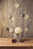 Christmas tree decoration made from yarn. Alternative Christmas tree Royalty Free Stock Photo