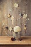 Christmas tree decoration made from yarn. Alternative Christmas tree Royalty Free Stock Photo