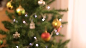 Christmas tree decoration bokeh focusing stock footage