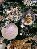 Christmas tree decoration ornaments and white glitter ball Stock Images