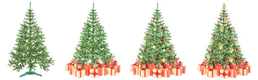 Christmas tree decoration process isolated on white Royalty Free Stock Photography