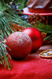 Christmas tree decoration red shiny and glitter balls Stock Image