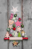 Christmas tree - decoration in shabby chic style - an idea for a Royalty Free Stock Photos
