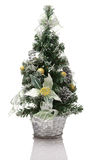 Christmas tree decoration in silver basket Stock Photos