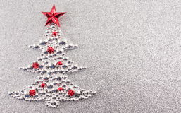 Christmas tree decoration with silver glitter background Stock Photo