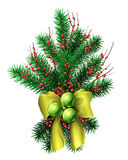 Christmas tree decoration. Small christmas tree decoration with gold bow ribbons red berries and green baubles. Vector  illustration. Easy to recolor Royalty Free Stock Images