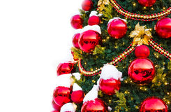 Christmas tree with decoration and snow Royalty Free Stock Photos