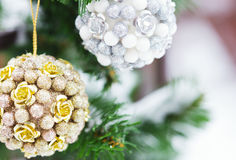 Christmas tree decoration in snow at winter day. Close up photo Royalty Free Stock Photos